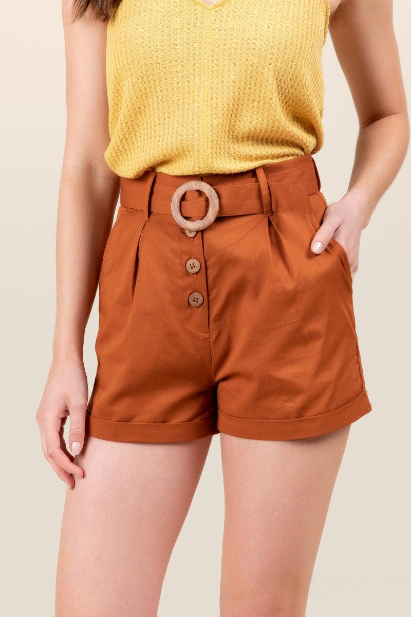 Jessica Button Front Shorts-  adobe-cl