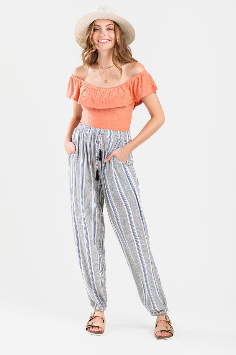 Tessai Striped Palazzo Pants- Blue