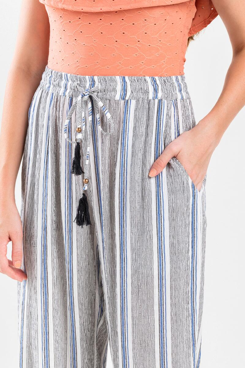 Tessai Striped Palazzo Pants- Blue 4