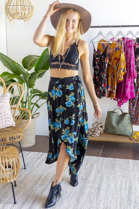 Andell Floral Wrap Maxi Skirt