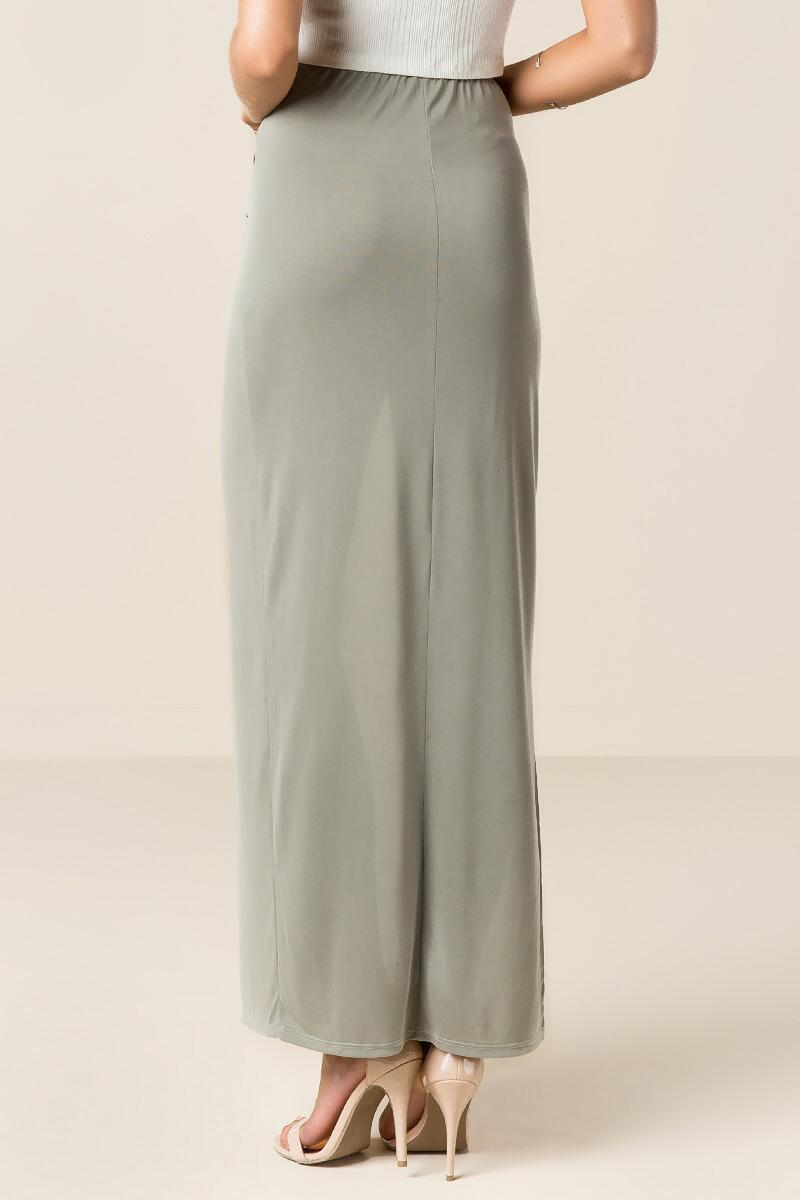 Solana Knotted Maxi Skirt-  olv-clback