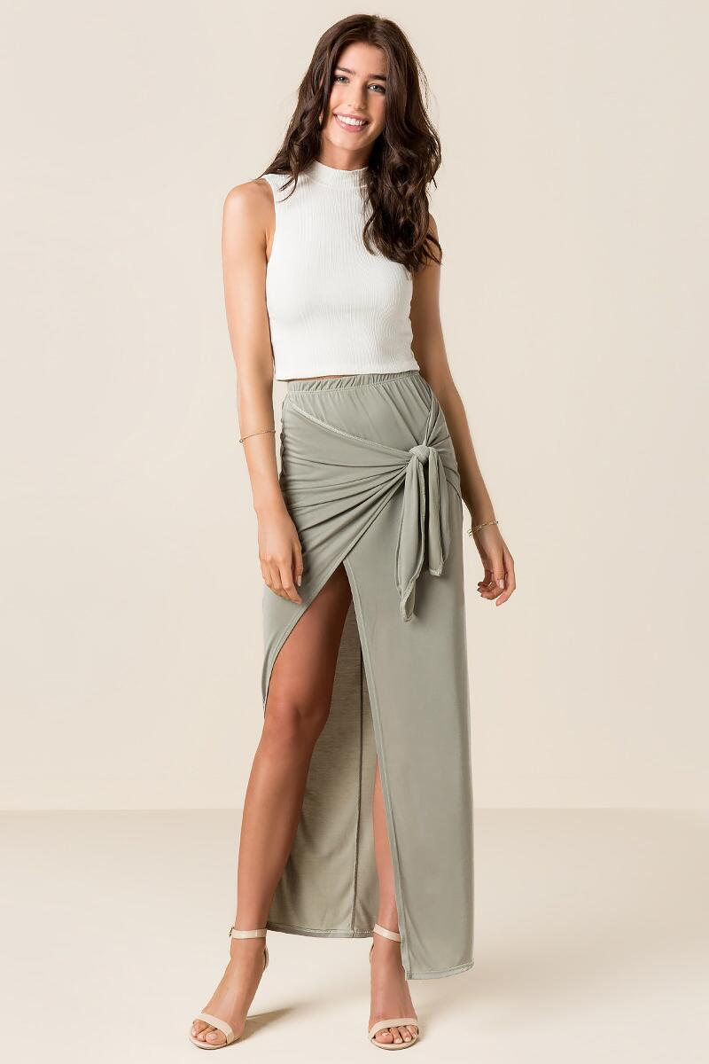 Solana Knotted Maxi Skirt-  olv-clmodel