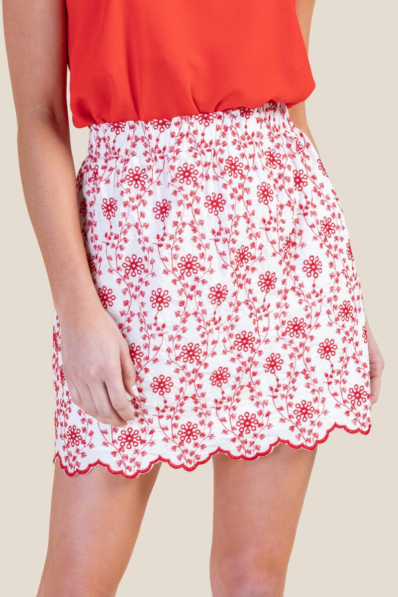 Zoey Colored Eyelet Skirt-  ivry-cl