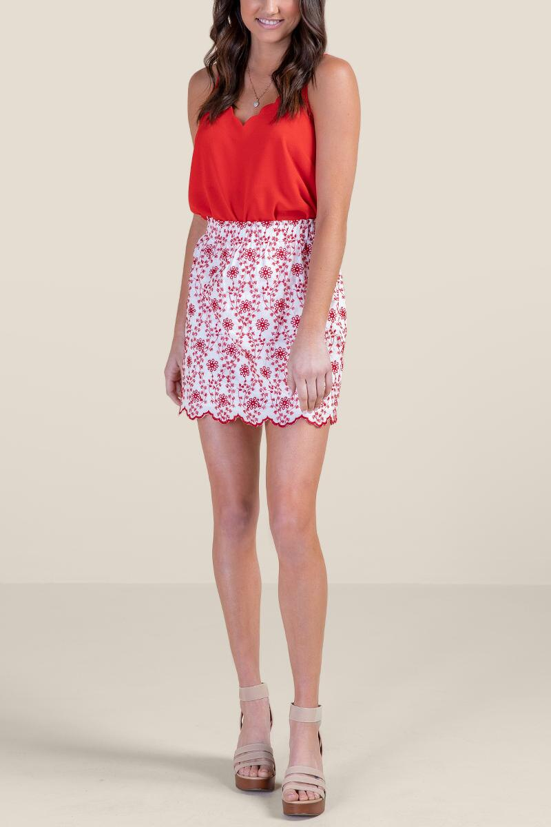 Zoey Colored Eyelet Skirt-  ivry-cl4