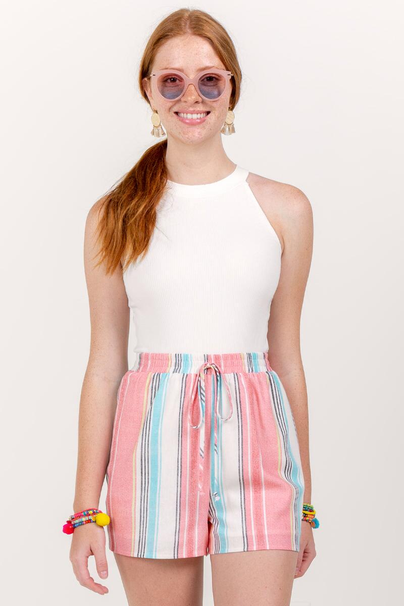 Berkley Striped Tie Waist Shorts- Ivory