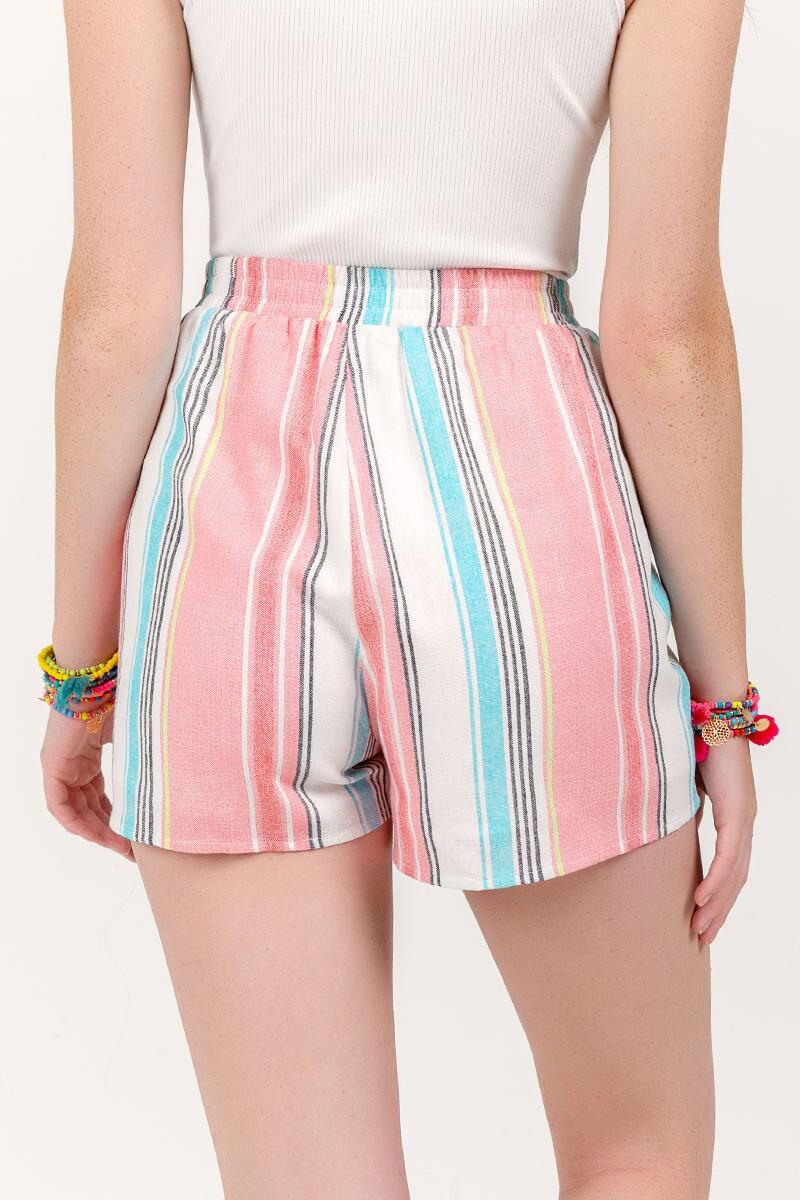 Berkley Striped Tie Waist Shorts- Ivory 2