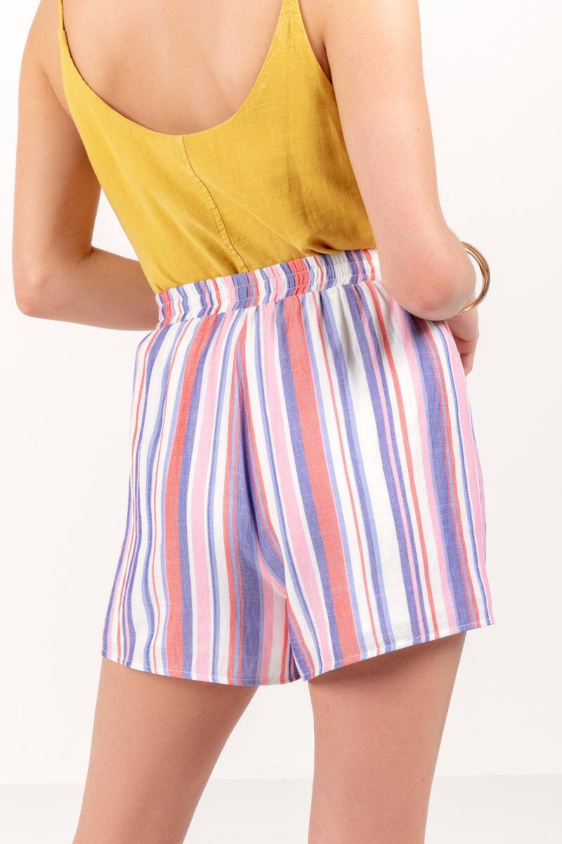 Hanley Striped Tie Waist Shorts-lcora-cl 2
