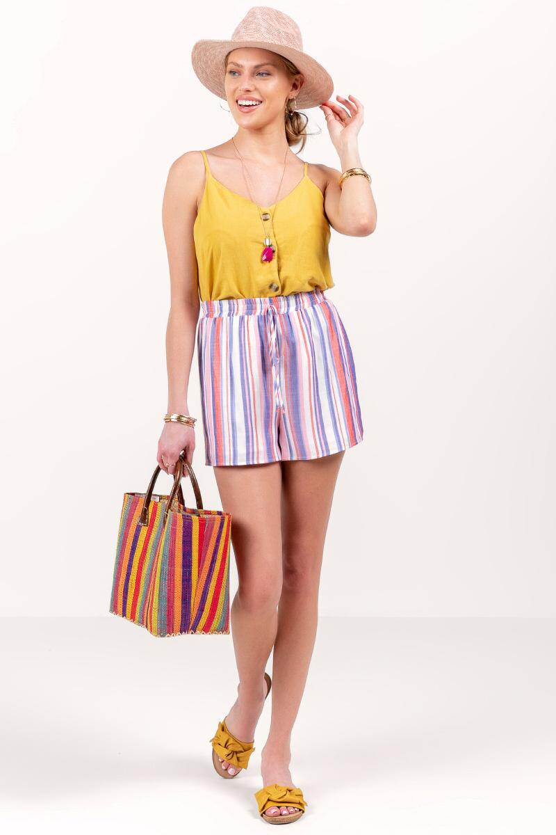 Hanley Striped Tie Waist Shorts-lcora-cl 4