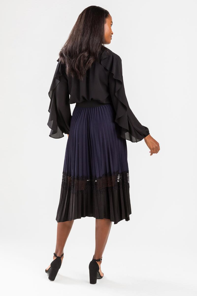 Kriss Pleated Lace Insert Midi Skirt-Navy 2