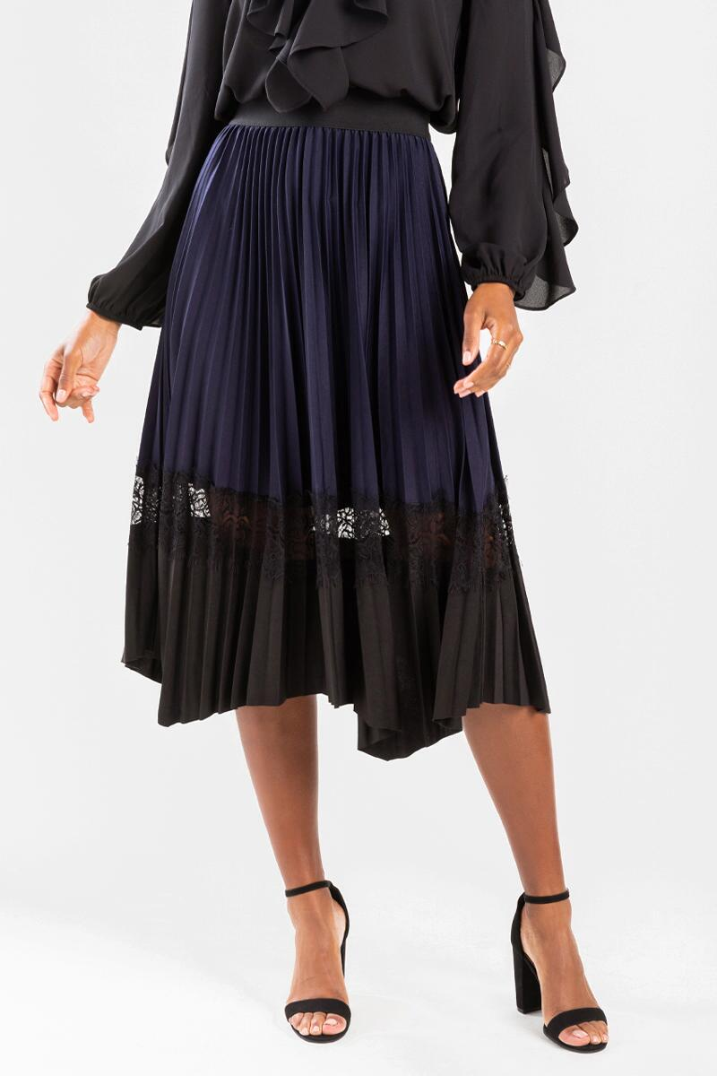 Kriss Pleated Lace Insert Midi Skirt-Navy 3