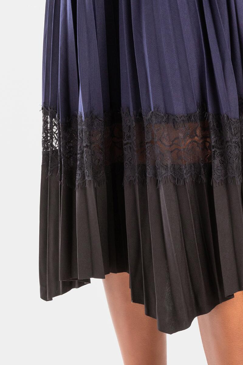 Kriss Pleated Lace Insert Midi Skirt-Navy 4