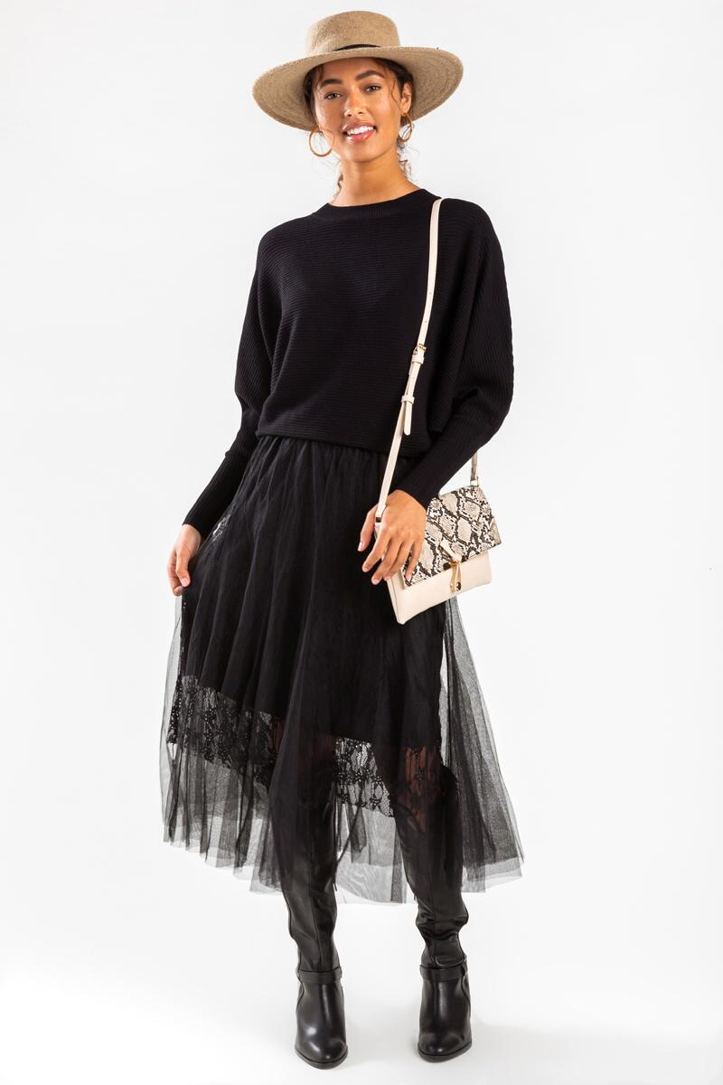 Murcia Lace Maxi Skirt-Black