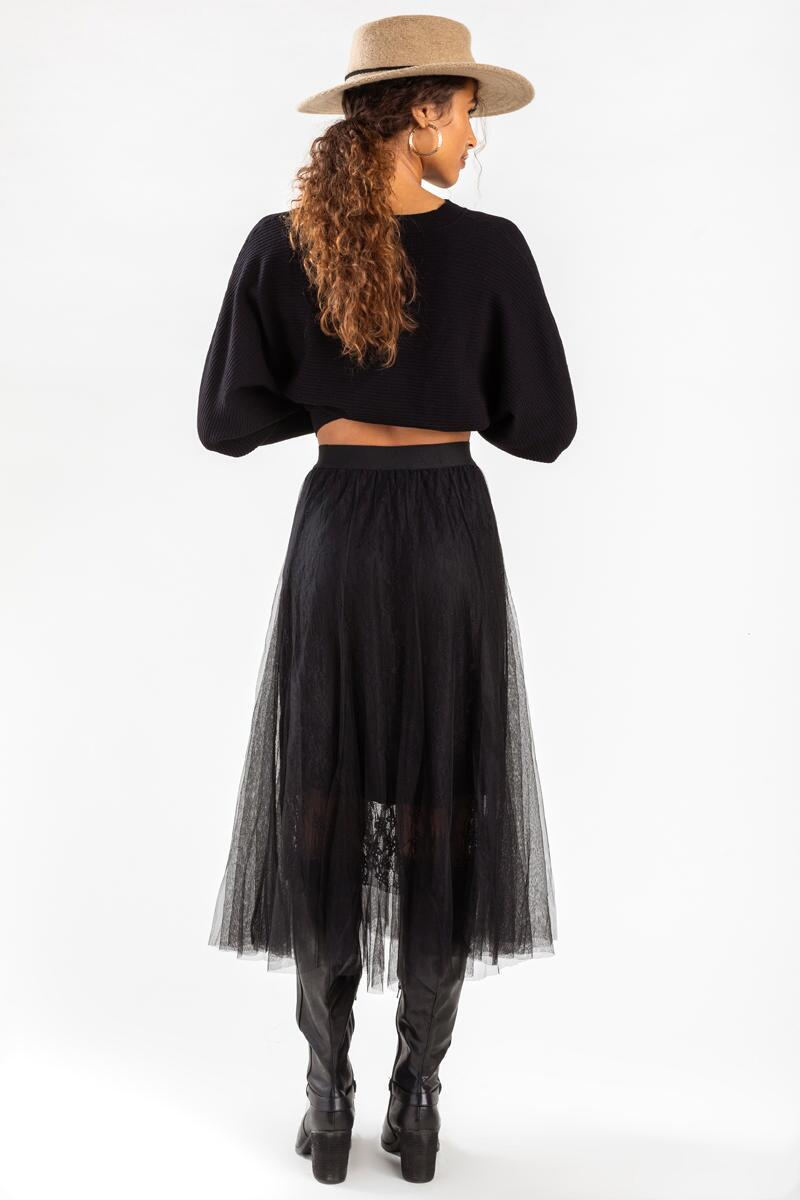 Murcia Lace Maxi Skirt-Black 2