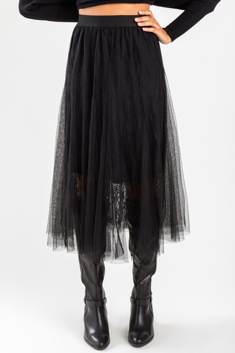 Murcia Lace Maxi Skirt-Black 3
