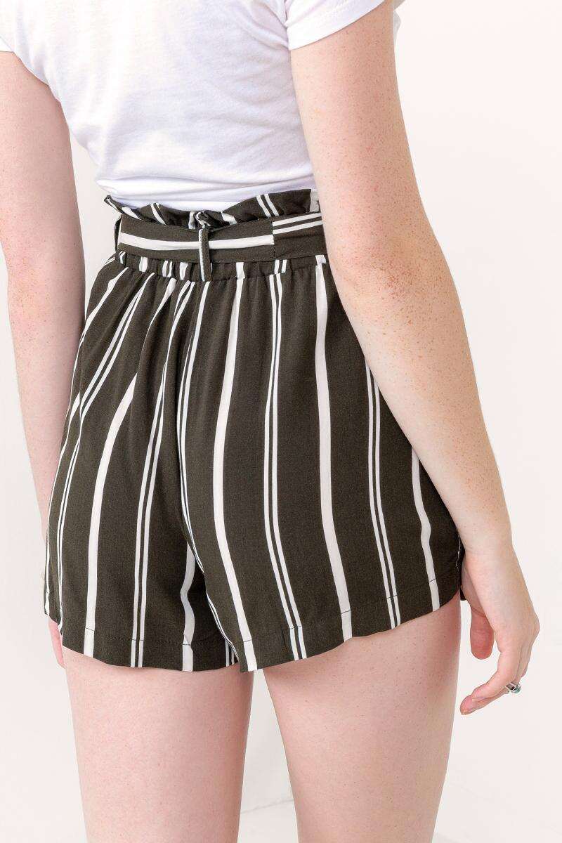 Suzette Striped Tie Waist Shorts-Dark Olive 2