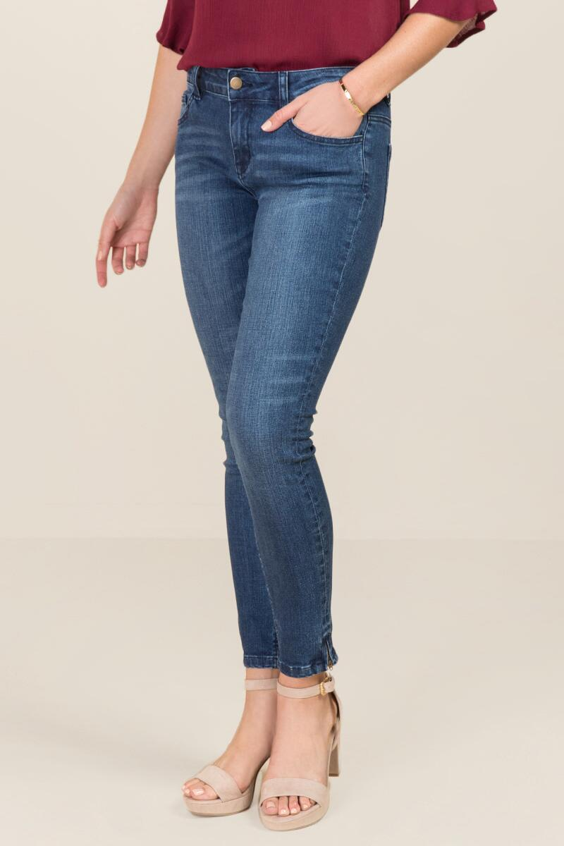 Harper Mid Rise Ankle Zipper Jeans