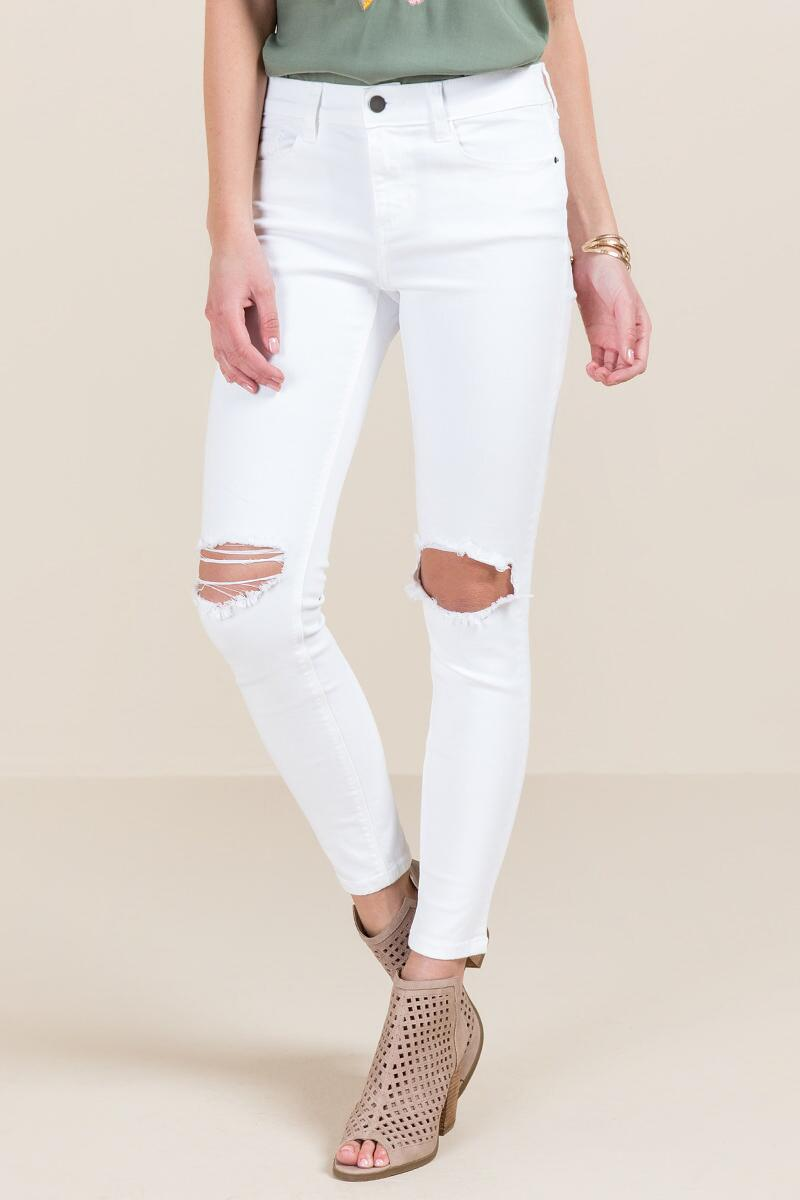 Harper White Knee Slit Jeans-  white-cl