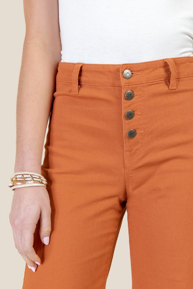 Harper Heritage Exposed Button Cropped Jeans-  cinm-cl3