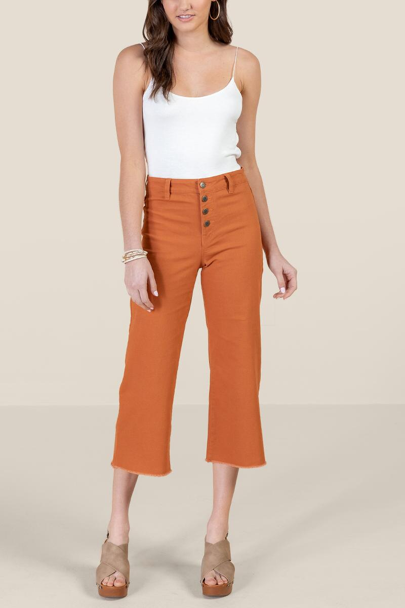 Harper Heritage Exposed Button Cropped Jeans-  cinm-cl4