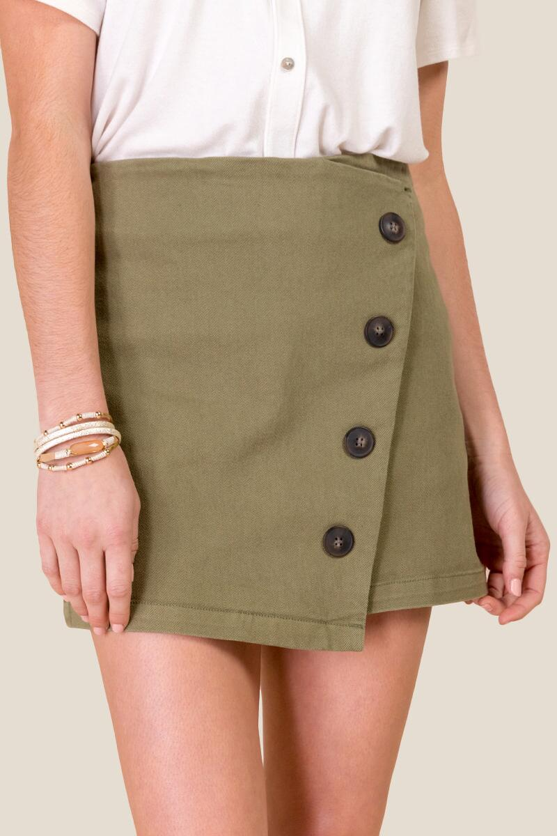 Nicole Button Front Mini Skirt-  olv-cl