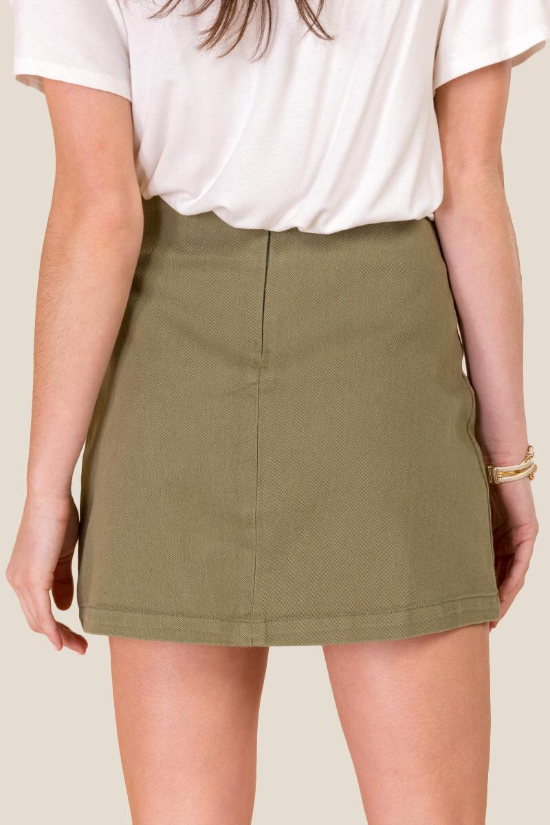 Nicole Button Front Mini Skirt-  olv-cl2
