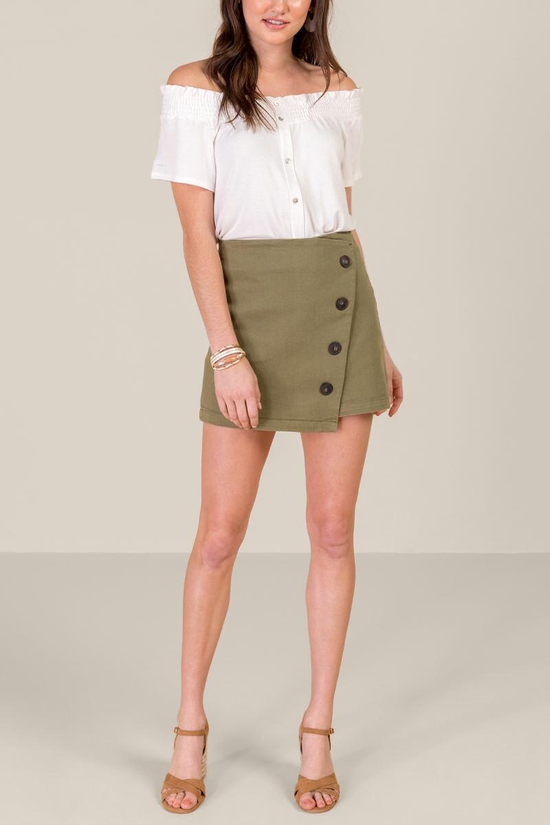 Nicole Button Front Mini Skirt-  olv-cl4