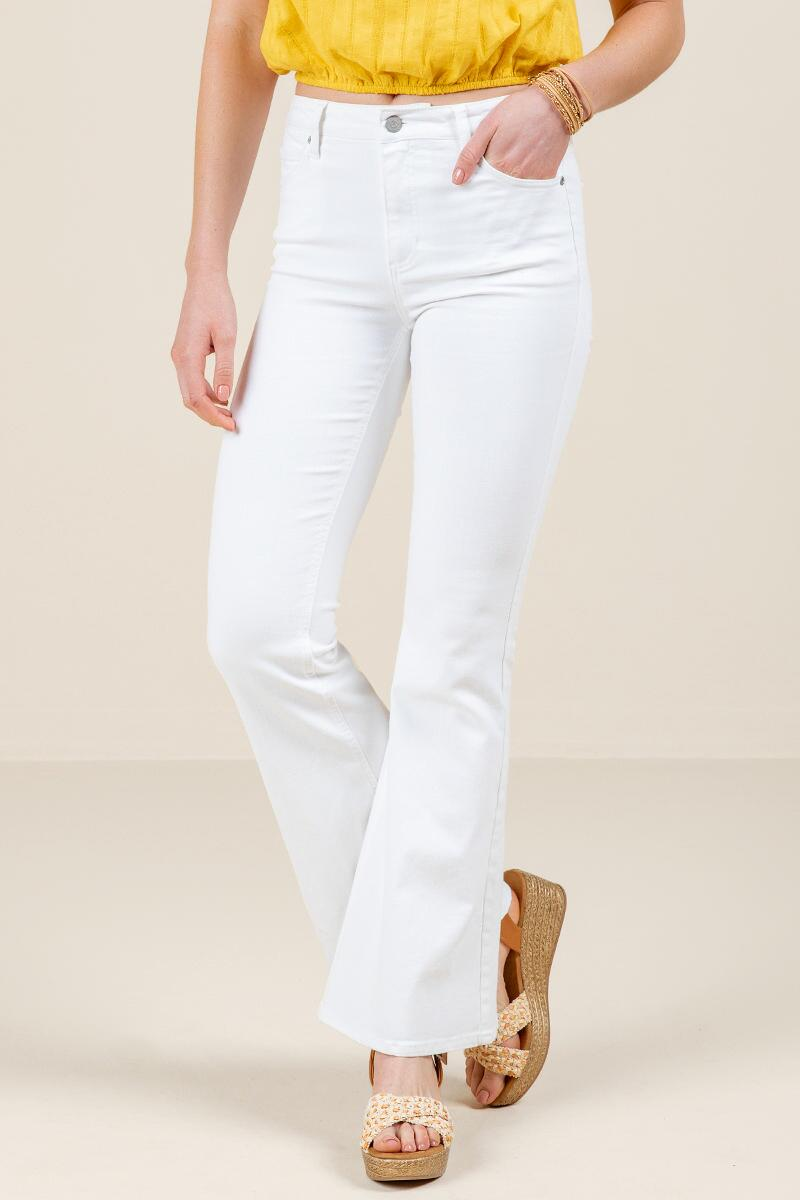 Harper Heritage High Rise Flare Jeans-  white-cl
