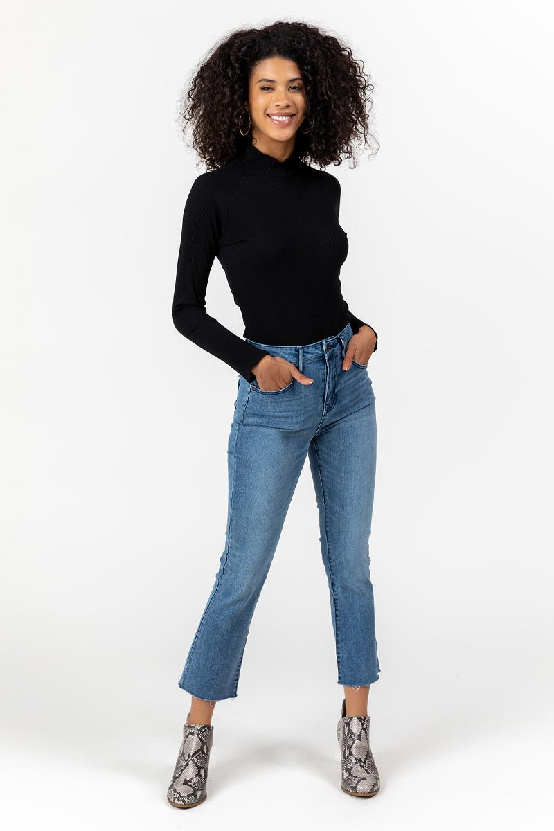 Brailee High Rise Cropped Jeans-  med-cl
