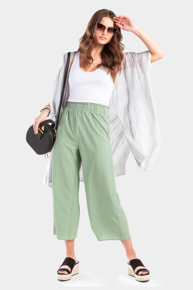 Conney Cropped Palazzo Pants- Sage