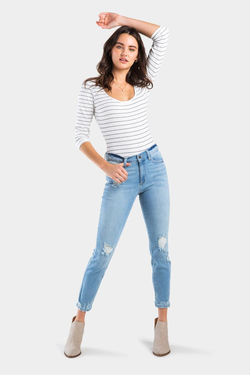 Brandy Cropped Frizzed Ripped Lite Denim-  lite-cl2