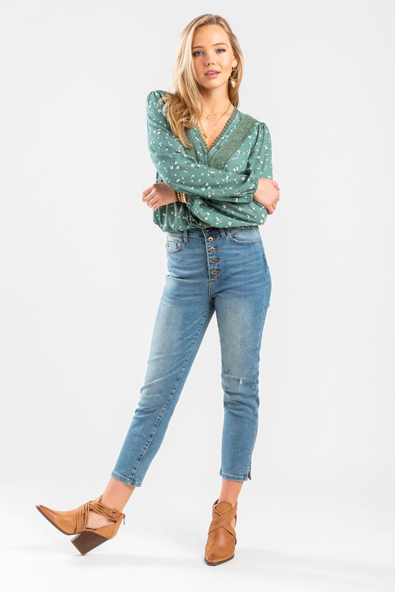 Nela High Rise Button Closure Skinny Jeans-  med-cl
