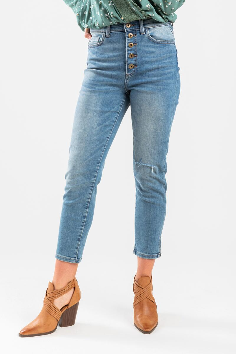 Nela High Rise Button Closure Skinny Jeans-  med-cl3