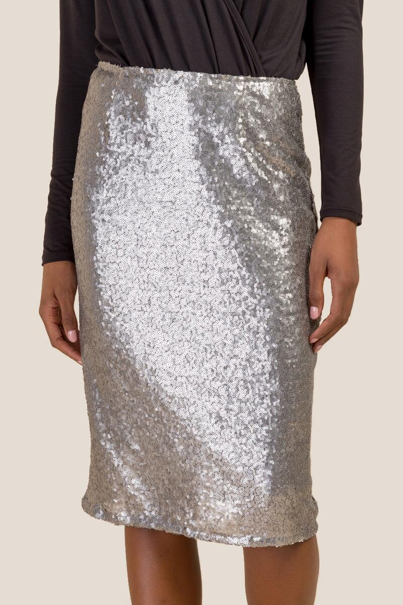 Justine Allover Sequin Pencil Skirt-  silv-cl