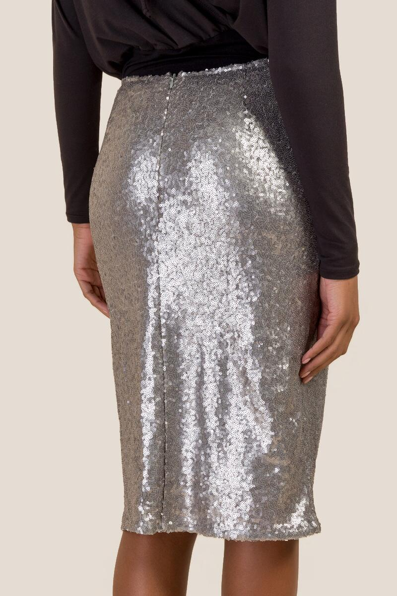 Justine Allover Sequin Pencil Skirt-  silv-cl2