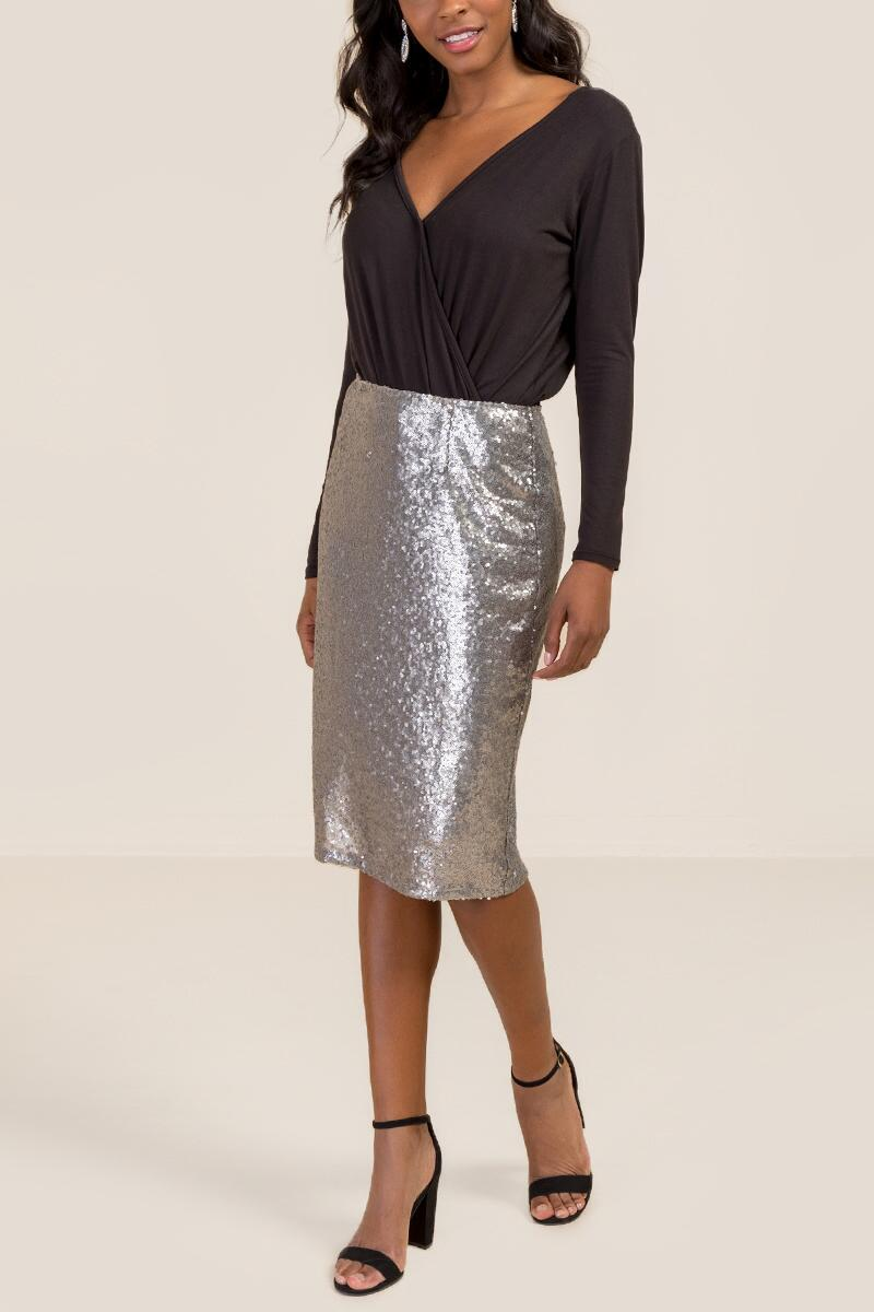 Justine Allover Sequin Pencil Skirt-  silv-cl4