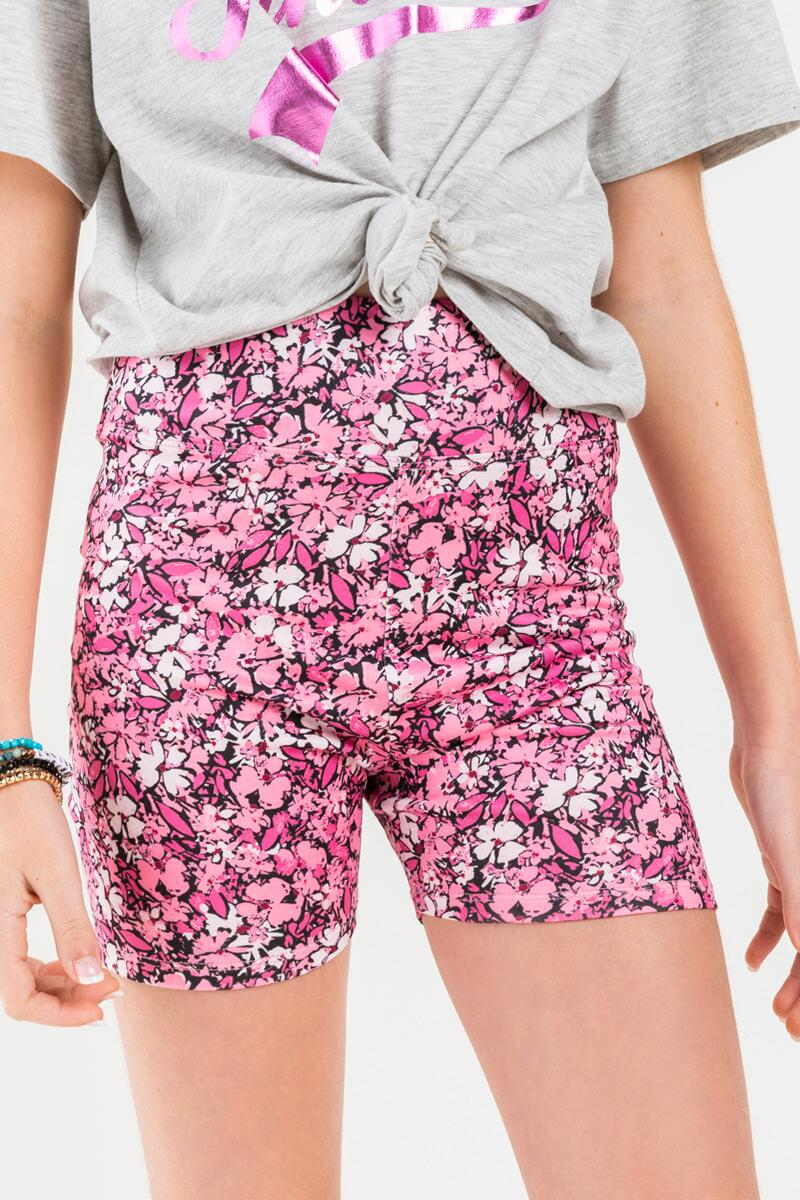 franki Floral Biker Shorts for Girls- Pink 5