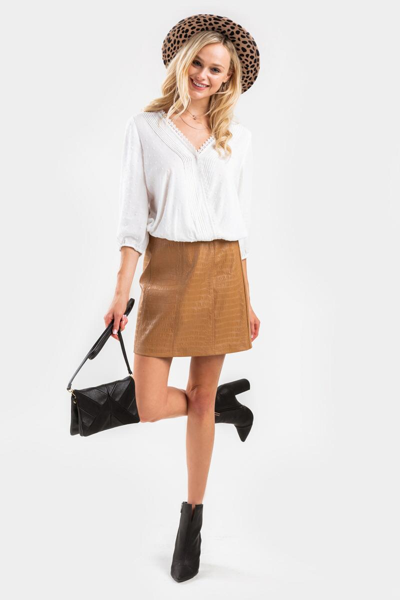 Jenna Faux Snake Mini Skirt-Taupe