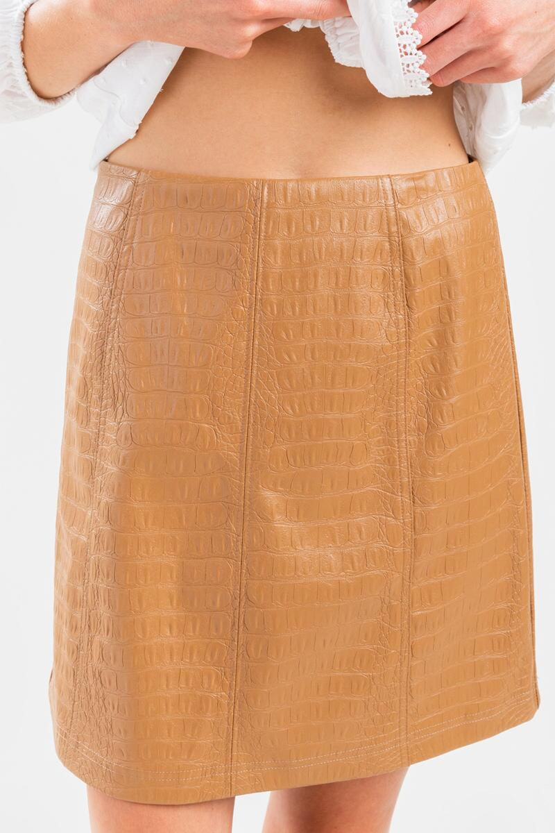 Jenna Faux Snake Mini Skirt-Taupe 4