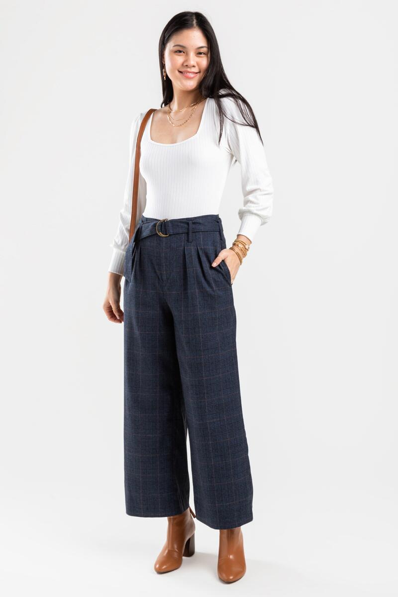 Candice Buckle Plaid Full Length Pants-  navy-cl