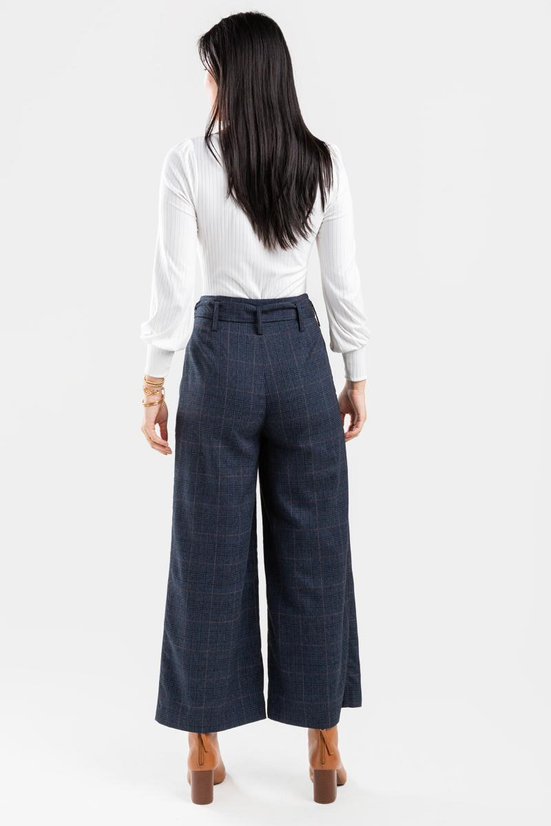 Candice Buckle Plaid Full Length Pants-  navy-cl2