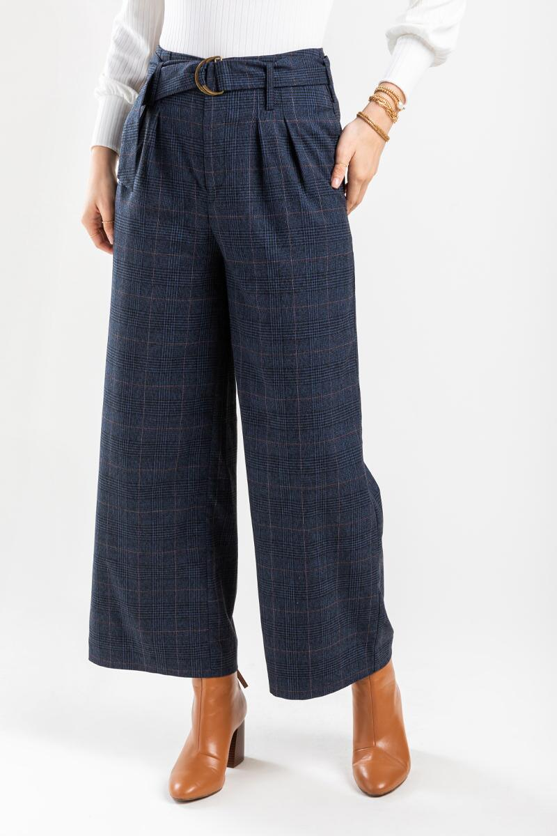 Candice Buckle Plaid Full Length Pants-  navy-cl3