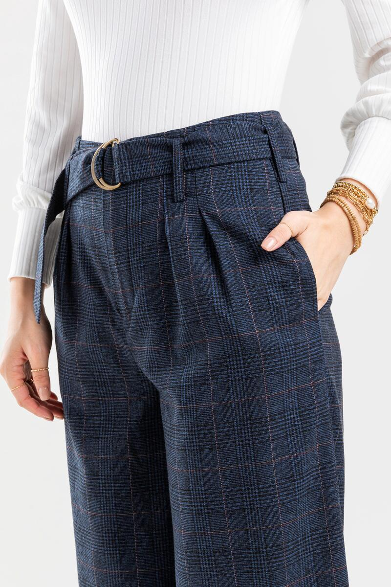 Candice Buckle Plaid Full Length Pants-  navy-cl4
