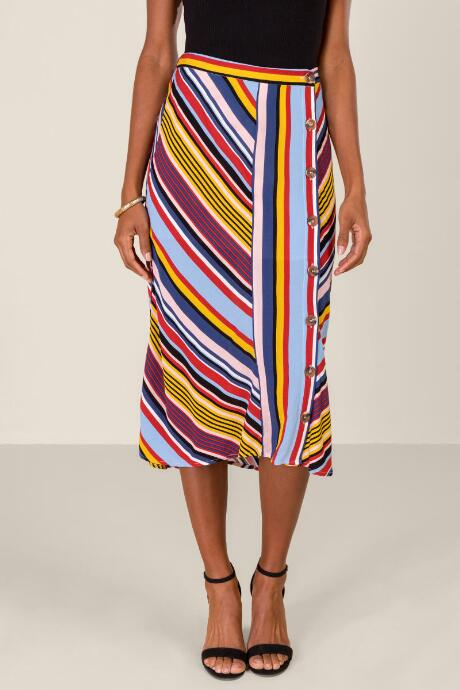 Riley Striped Button Front Midi Skirt