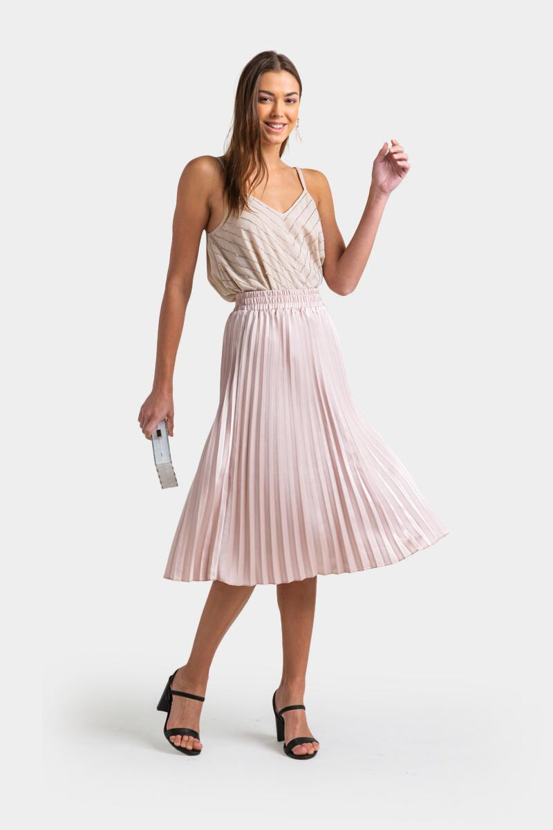 Raynell Pleated Midi Skirt- Champagne