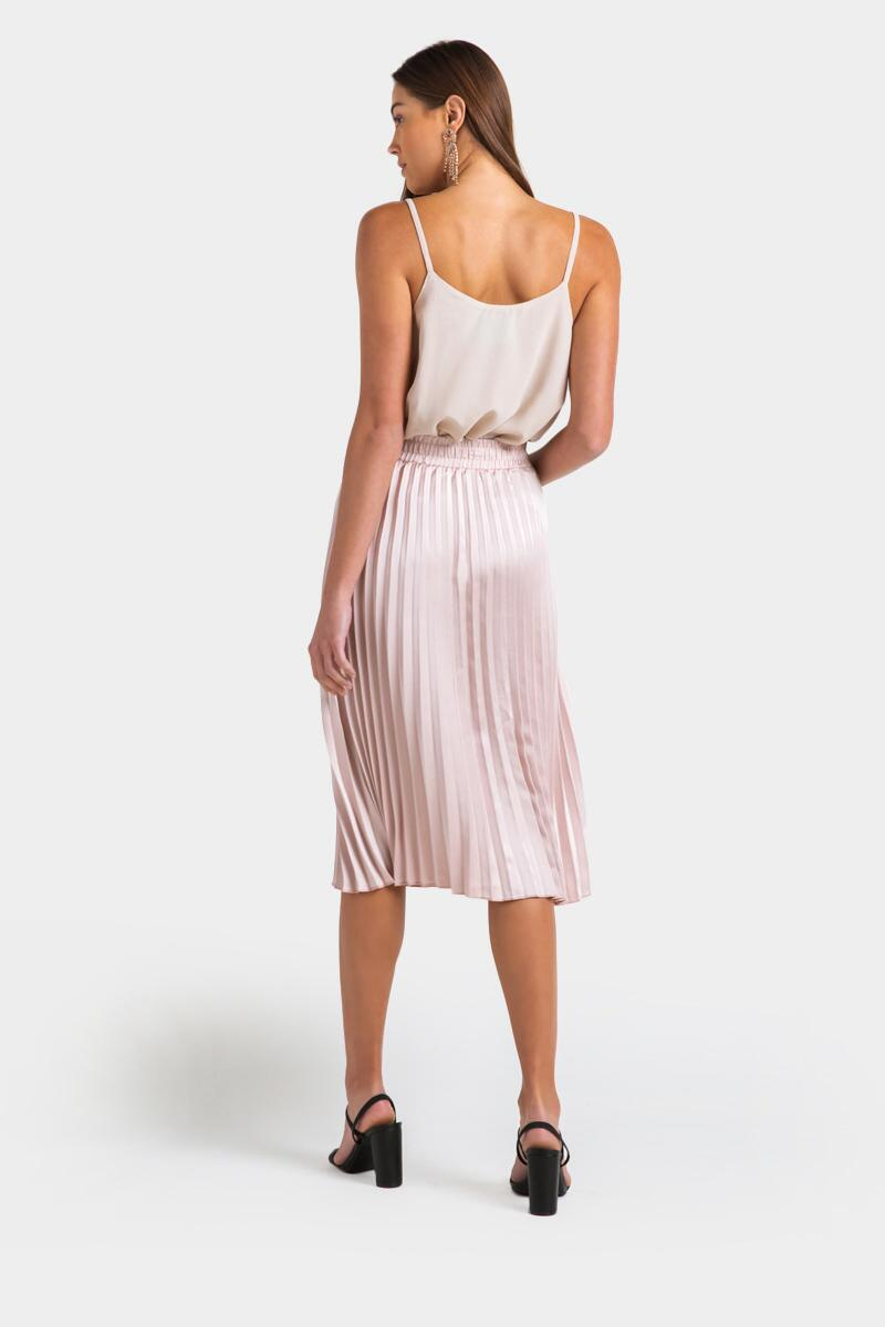 Raynell Pleated Midi Skirt- Champagne 2