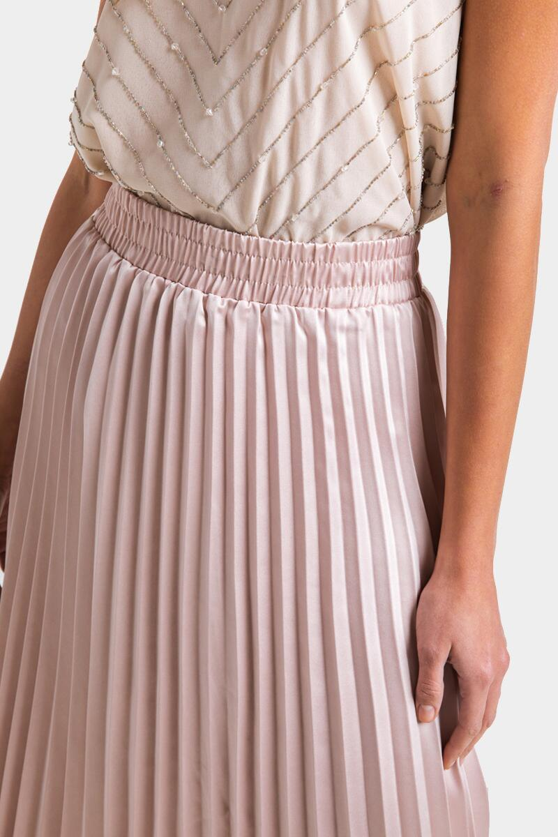 Raynell Pleated Midi Skirt- Champagne 4