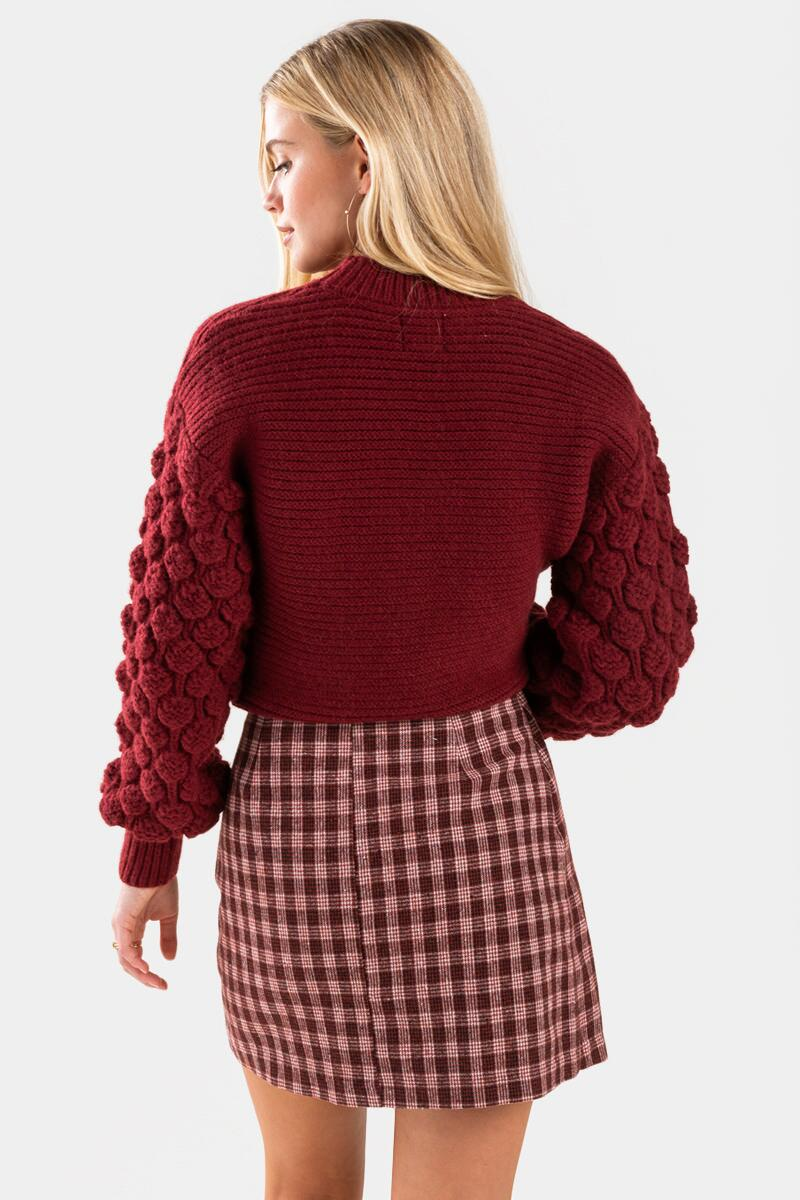 Shyanna Plaid Mini Skirt-Burgundy 3