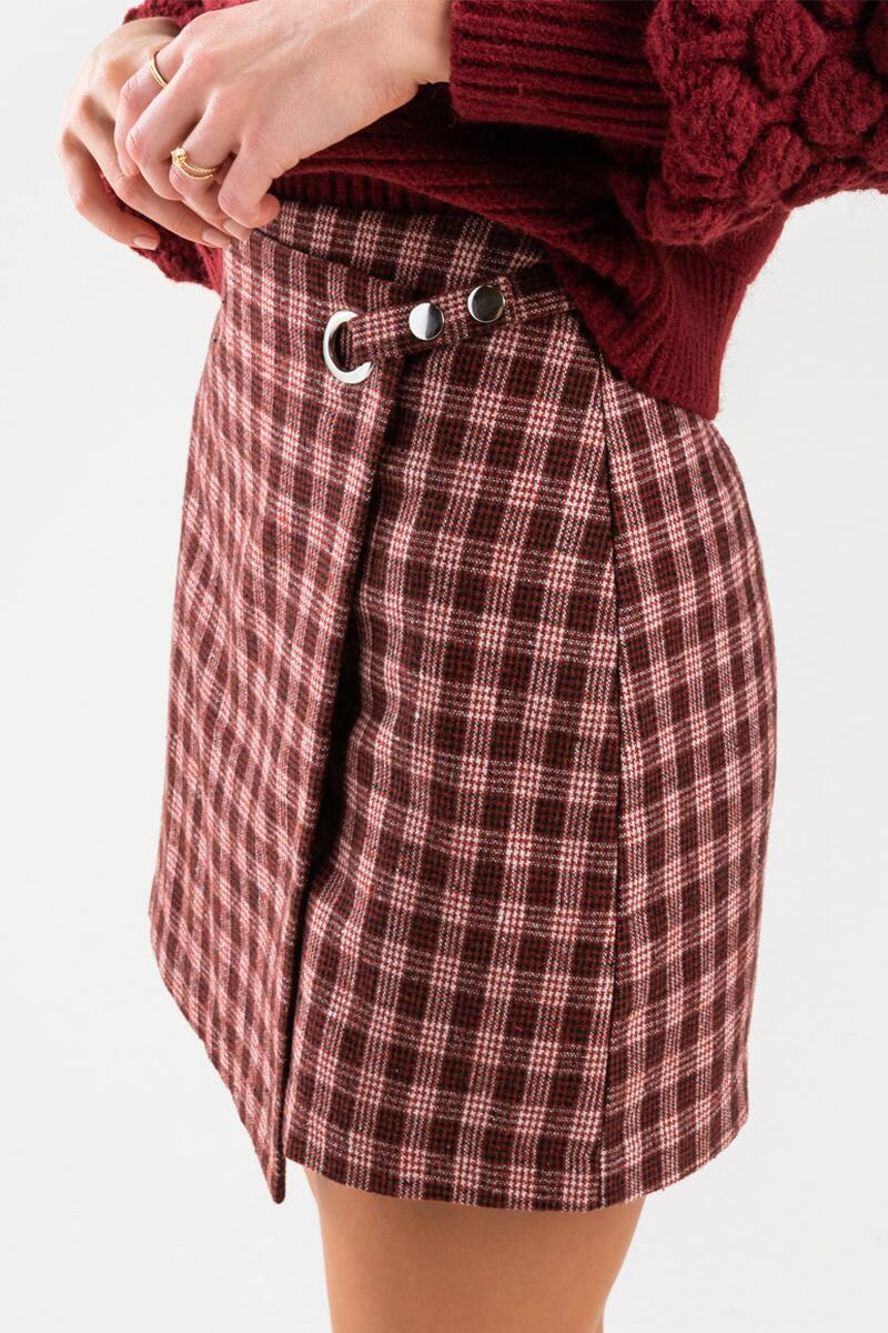 Shyanna Plaid Mini Skirt-Burgundy 4