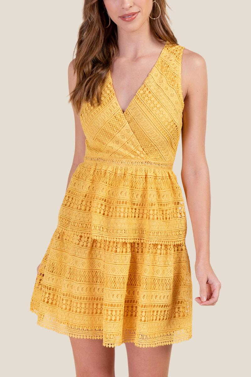 Kailey Tiered Crochet Dress-  suns-cl