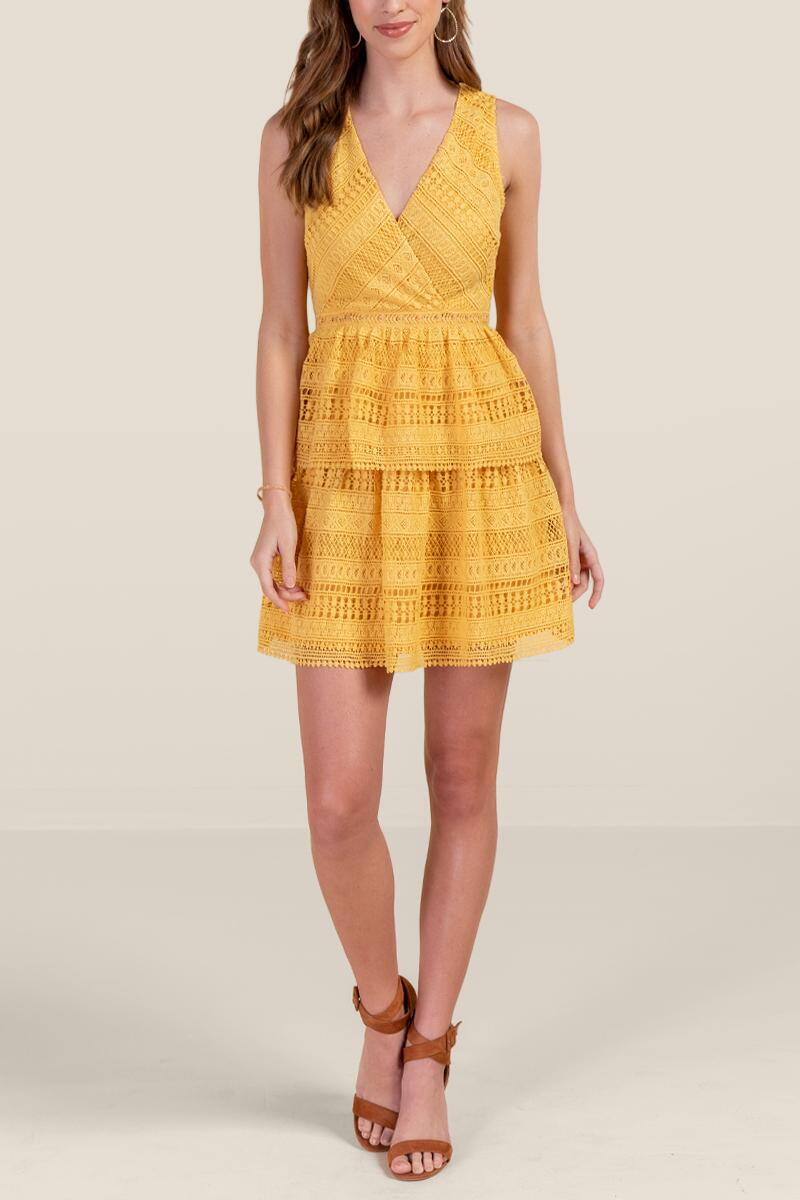 Kailey Tiered Crochet Dress-  suns-cl4